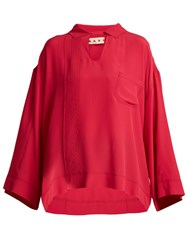 Marni Point Collar Washed Crepe Top Pink