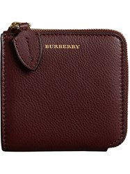 Burberry Grainy Leather Square Ziparound Wallet Red