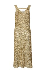 Kalmanovich Metallic Embroidered Dress Gold