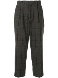 Kolor Checked Wool Blend Trousers Grey