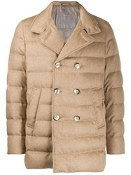 Herno Double Breasted Padded Jacket Neutrals