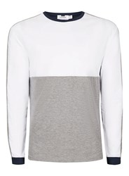 Topman Blue Navy White And Gray Panelled Long Sleeve T Shirt