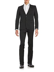 Versace Regular Fit Wool Blend Suit Charcoal