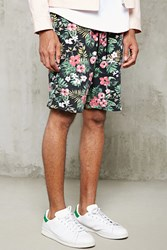 Forever 21 Tropical Floral Knit Shorts Black Red
