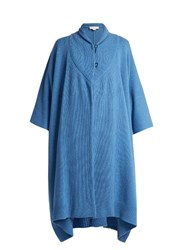 Stella Mccartney Asymmetric Hem Cashmere And Wool Blend Poncho Blue