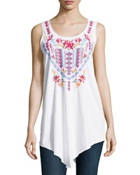 Jwla Geometric Embroidered Asymmetric Tunic White