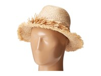 Echo Palm Fringe Panama Beach Hat Linen Caps Beige
