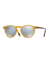 Oliver Peoples Gregory Peck 47 Limited Edition Mirrored Sunglasses Amber Blue