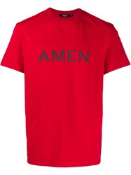 Amen Printed Logo T Shirt Red