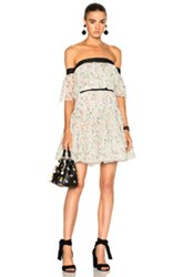Giambattista Valli Off The Shoulder Tiered Mini Dress In Floral Green White Floral Green White