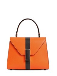 Valextra Mini Iside Grained Leather Bag Orange Black