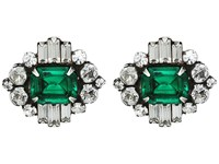 Dannijo Athena Earrings Ox Silver Clear Emerald