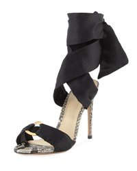 Alexandre Birman Branca Silk And Python Ankle Wrap Sandal Black