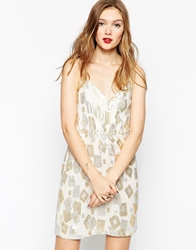 Aryn K Cami Dress With Embossed Pattern Angoragold