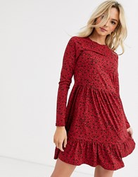 New Look Smock Dress In Red Floral