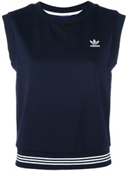 Adidas Three Stripe Tank Top Women Cotton Polyester 44 Blue
