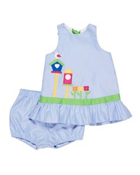 Florence Eiseman Stripe Birdhouse Dress W Bloomers Blue