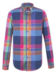 Ben Sherman Long Sleeve Summer Madras Check Shirt Petrol Blue