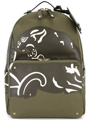 Valentino Print Panel Backpack Green