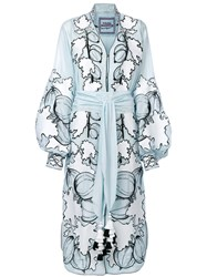 Yuliya Magdych Gooseberry Embroidered Dress Cotton S Blue