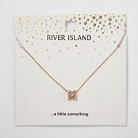 River Island Womens Rose Gold Tone 'M' Initial Pendant Necklace