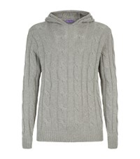Ralph Lauren Purple Label Cable Knit Hoodie Grey