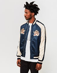 Schott Nyc Embroidered Mythical Souvenir Bomber Jacket Navy