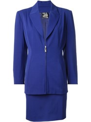 Claude Montana Vintage Skirt And Jacket Suit Blue