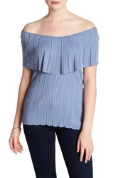 Cullen Flutter Sleeve Pointelle Shirt Blue