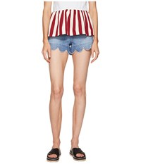 Red Valentino Stone Washed Scallops Embroidery Shorts Light Blue Denim Women's Shorts