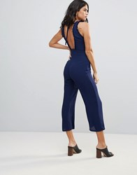 Goldie Chiffon Midi Length Jumpsuit With Frill Detail And Back Tie Navy