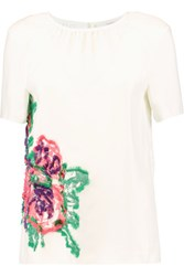 Pringle Of Scotland Fringed Embroidered Crepe Top Off White