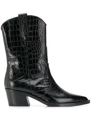 Via Roma 15 Crocodile Effect Ankle Boots Black