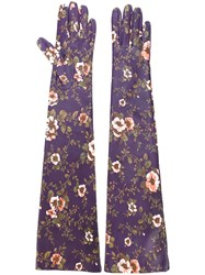Rochas Long Floral Print Gloves Pink And Purple