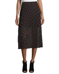 Mcq By Alexander Mcqueen Pleated Polka Dot Midi Skirt Red Black