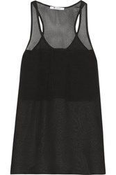 Alexander Wang T By Silk Chiffon And Crepe De Chine Tank Black
