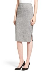 Halogenr Women's Halogen Side Zip Pencil Skirt Grey Texture Pattern