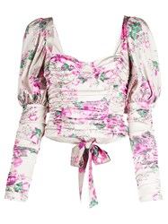 For Love And Lemons Floral Print Gigot Sleeved Corset Top 60