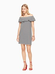 Kate Spade Stripe Off The Shoulder Dress Off White Black