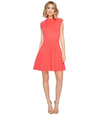 Ted Baker Zaralie Jacquard Panel Skater Dress Mid Orange Women's Dress Red