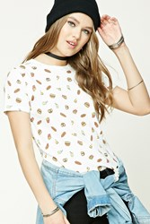 Forever 21 Burger And Hot Dog Print Tee Cream Brown