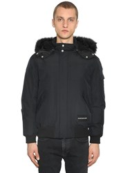 Calvin Klein Jeans Hooded Down Bomber Jacket W Faux Fur Black