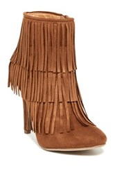 Nature Breeze High Point Suede Fringe Stiletto Bootie Brown