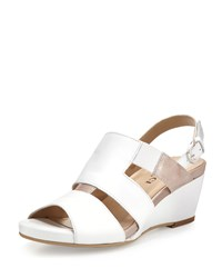 Sesto Meucci Kaleo Leather Wedge Sandal White