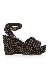Newbark Maggie Daisy Print Wedge Sandals Black Multi