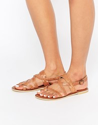 Park Lane Simple Strappy Leather Flat Sandals Chocolate Brown