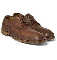Guidi Distressed Leather Derby Shoes Brown