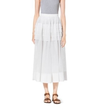 Michael Kors Tiered Cotton Organdy Maxi Skirt Optic White