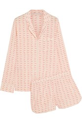 Stella Mccartney Poppy Snoozing Printed Stretch Silk Crepe De Chine Pajama Set