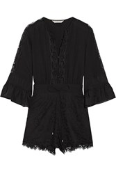 Rachel Zoe Rita Silk Chiffon Timmed Crepe De Chine And Lace Playsuit Black